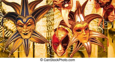 Venetian mask - Venetian carnival mask . Collage.