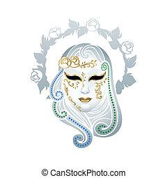 Venetian female carnival floral mask isolated over white