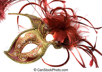 venetian mask - Venetian mask red with gold, isolated on ...