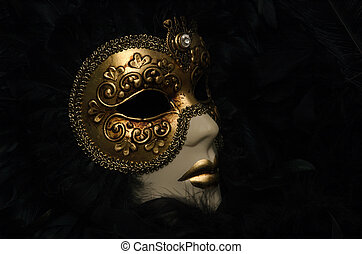 Venetian Mask with feathers.