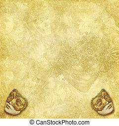 Venetian masks golden background - Two golden vintage...