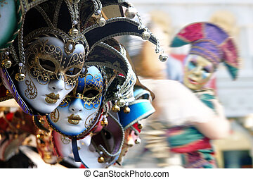 Venetian masks - Row of venetian masks in gold and blue