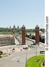 Venetian Towers lead the way to the MNAC (Fine Arts Museum) via Avinguda de la Reina Maria Cristina in Barcelona Spain