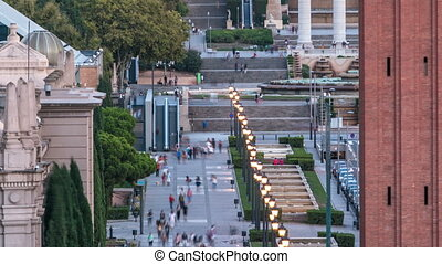 Venetian Towers timelapse lead the way to the MNAC Fine Arts Museum via Avinguda de la Reina Maria Cristina in Barcelona Spain