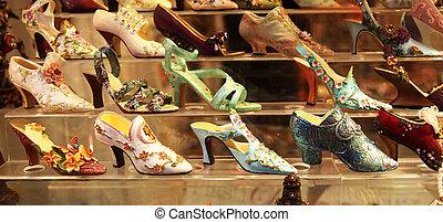 venetiansk, kvinna, sko lagret