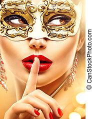 venetiansk, skönhet, maskerad, karneval, modell, tröttsam, kvinna, maskera, parti