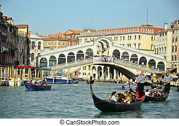 venetie, -, maart, 28:, gondola, op, rialto brug, op, maart,...