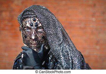 venetie, masker, carneval, -, venetiaan, kostuum