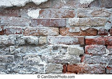 venetie, oud, verweerd, brickwall