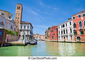 venetie, vaart, en, huisen, italië
