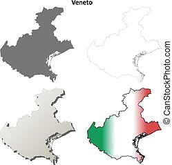 Veneto blank detailed outline map set - Veneto region blank...
