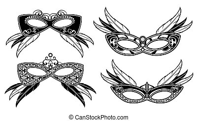 Veneto masquerade masks with lace luxury pattern vector...