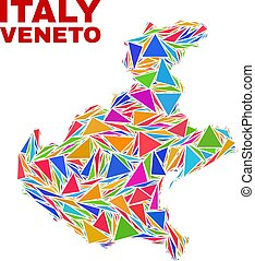 Veneto Region Map - Mosaic of Color Triangles - Mosaic...