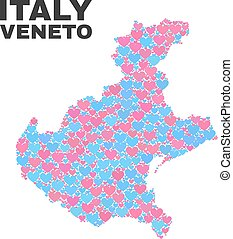 Veneto Region Map - Mosaic of Love Hearts - Mosaic Veneto...