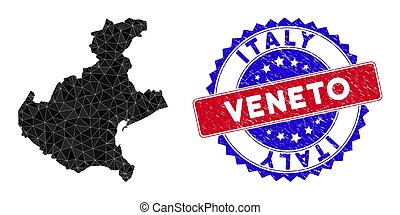 Veneto region map polygonal mesh with filled triangles, and rubber bicolor rubber seal. Triangle mosaic Veneto region map with mesh vector model, triangles have various sizes, and positions,