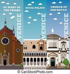 veneza, edifícios., banners., viagem, ilustração, famosos, vetorial, marco, italiano, concept., turista