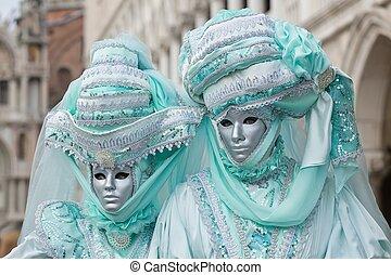 veneza, máscara, carneval, -, veneziano, traje