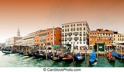 Venezia - Grand Channel - Venezia, Italy - Gondolas on Grand...