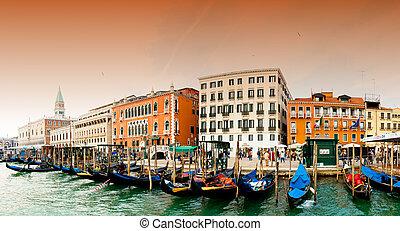 Venezia - Grand Channel - Venezia, Italy - Gondolas on Grand...