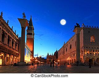 venezia, marco, san, piazza, scena, notte