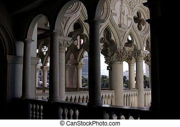 venezianisch, balkon, spalte, design, und, bögen, in, las vegas