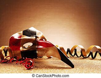 venezianisch, maskerade- schablone, auf, glittery, tisch