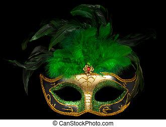 venezianisch, schwarz, maske, grün