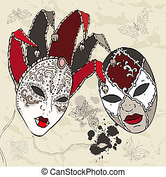 veneziano, desenhado, mão, carnaval, masks.
