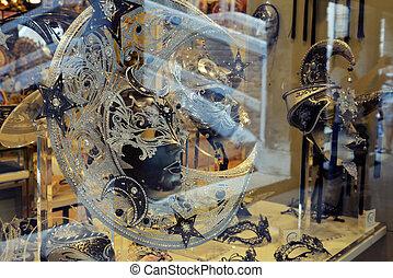 veneziano, exposição, loja, máscaras