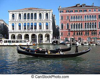 veneziano, gôndolas, pretas, dois
