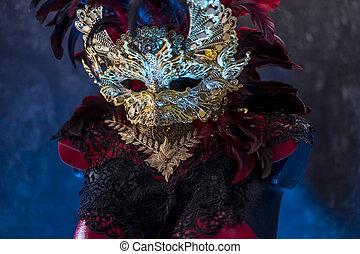 veneziano, ou, breastplate., ouro, feito à mão, reuniões, metal, máscara, pedaços, decoração, vermelho, pretas, partidos traje, colete, piea, tecidos, vermelho, renda