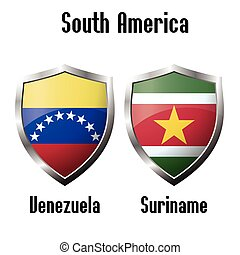 Venezuela and Suriname flag icons theme
