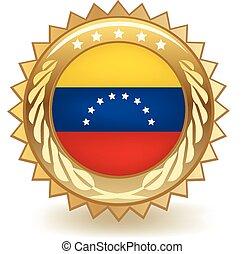 Venezuela Badge - Gold badge with the flag of Venezuela.