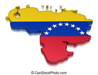 Venezuela (clipping path included) - Map of Venezuela. 3d ...