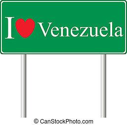 venezuela, concetto, amore, segno strada