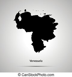 Venezuela country map, simple black silhouette on gray