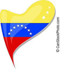 venezuela flag button heart shape. vector