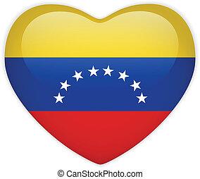 Venezuela Flag Heart Glossy Button - Vector - Venezuela Flag...