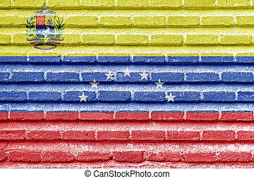 Venezuela flag on an old brick wall