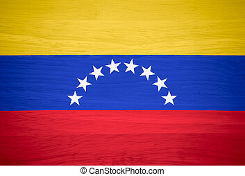 Venezuela flag on wood texture