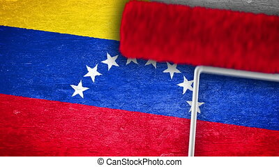 Venezuela Flag Painting On The Wall - Roller painting...