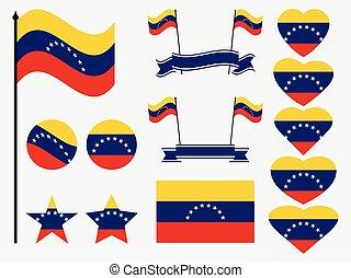 Venezuela flag set symbols, flag in heart. Vector illustration