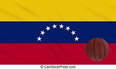 Venezuela flag wavers and basketball rotates, loop