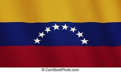 Venezuela flag waving animation. Full Screen. Symbol of the...