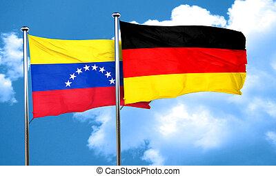 Venezuela flag with Germany flag, 3D rendering