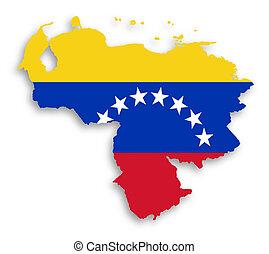 venezuela, kaart, met, de, vlag, binnen