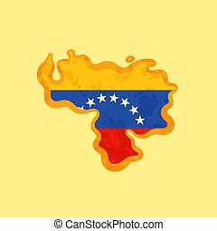 Venezuela - Map colored with Venezuelan flag