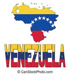 Venezuela map flag and text illustration