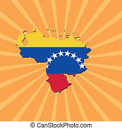 Venezuela map flag on sunburst