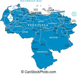 Highly detailed vector map of Venezuela with administrative regions, main cities and roads.